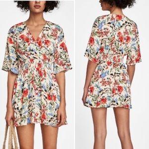 Zara floral print elastic waist flowy mini dress